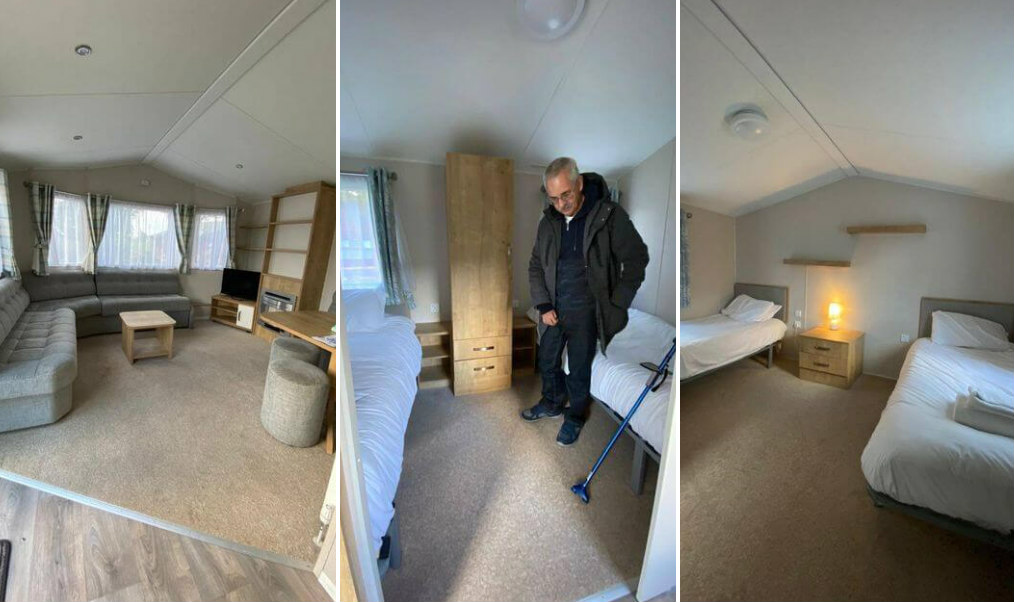 Photo collage: The first photo shows Lounge in the accessible caravan at Thurston Manor Holiday Park. Second photo shows a man with a walking stick standing in the twin bedroom in the accessible caravan.. Third photo shows wheelchair accessible bedroom.