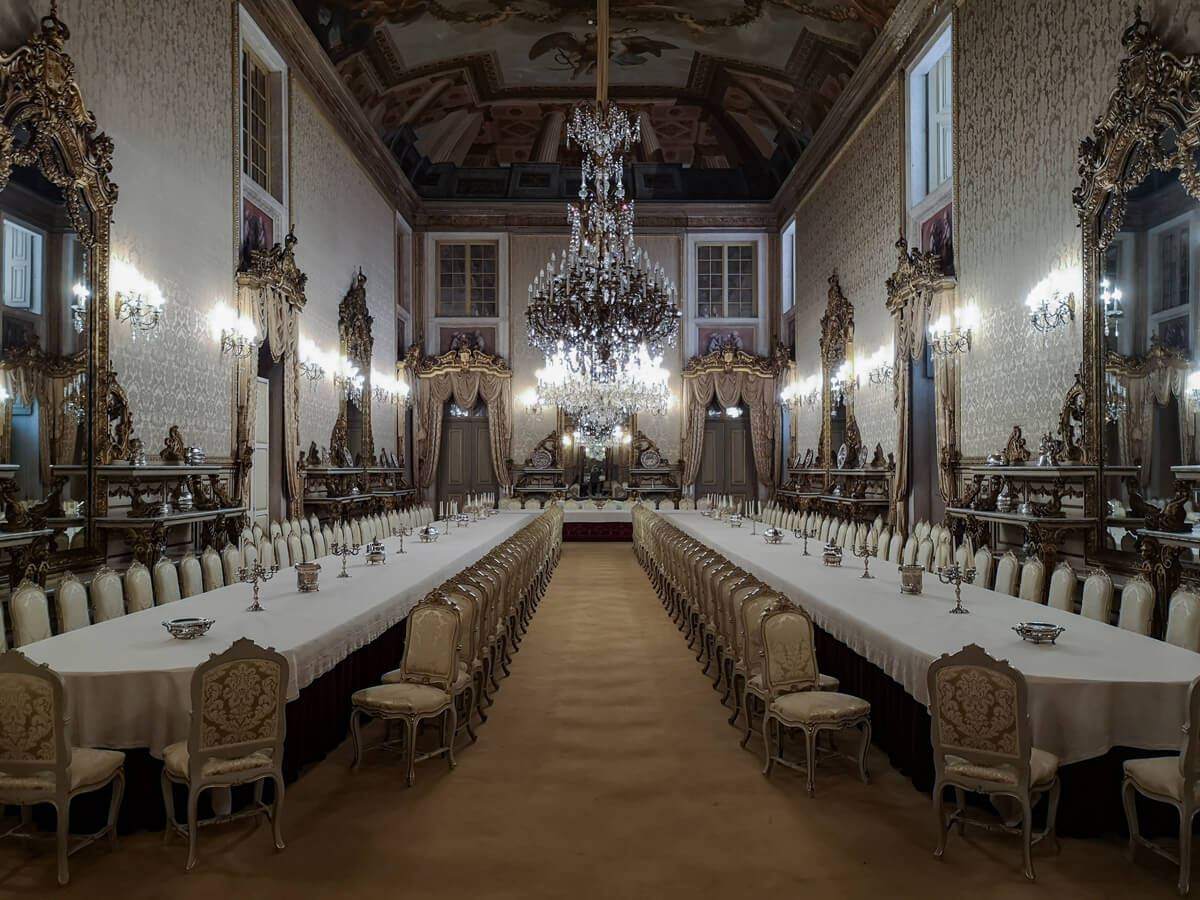 Inside a Royal dining room at the Ajuda National Palace, Portugal.