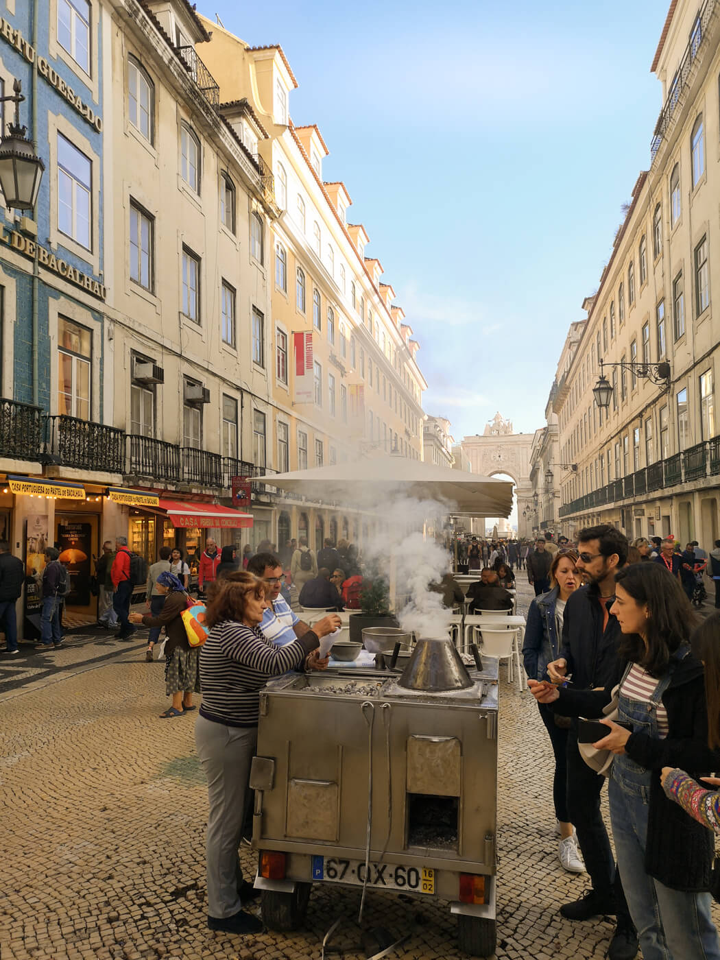 A street food vendor in the middle of downtown Lisbon.