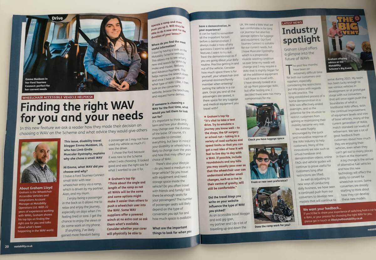 A two page feature by Emma about WAV's in Lifestyle Magazine.