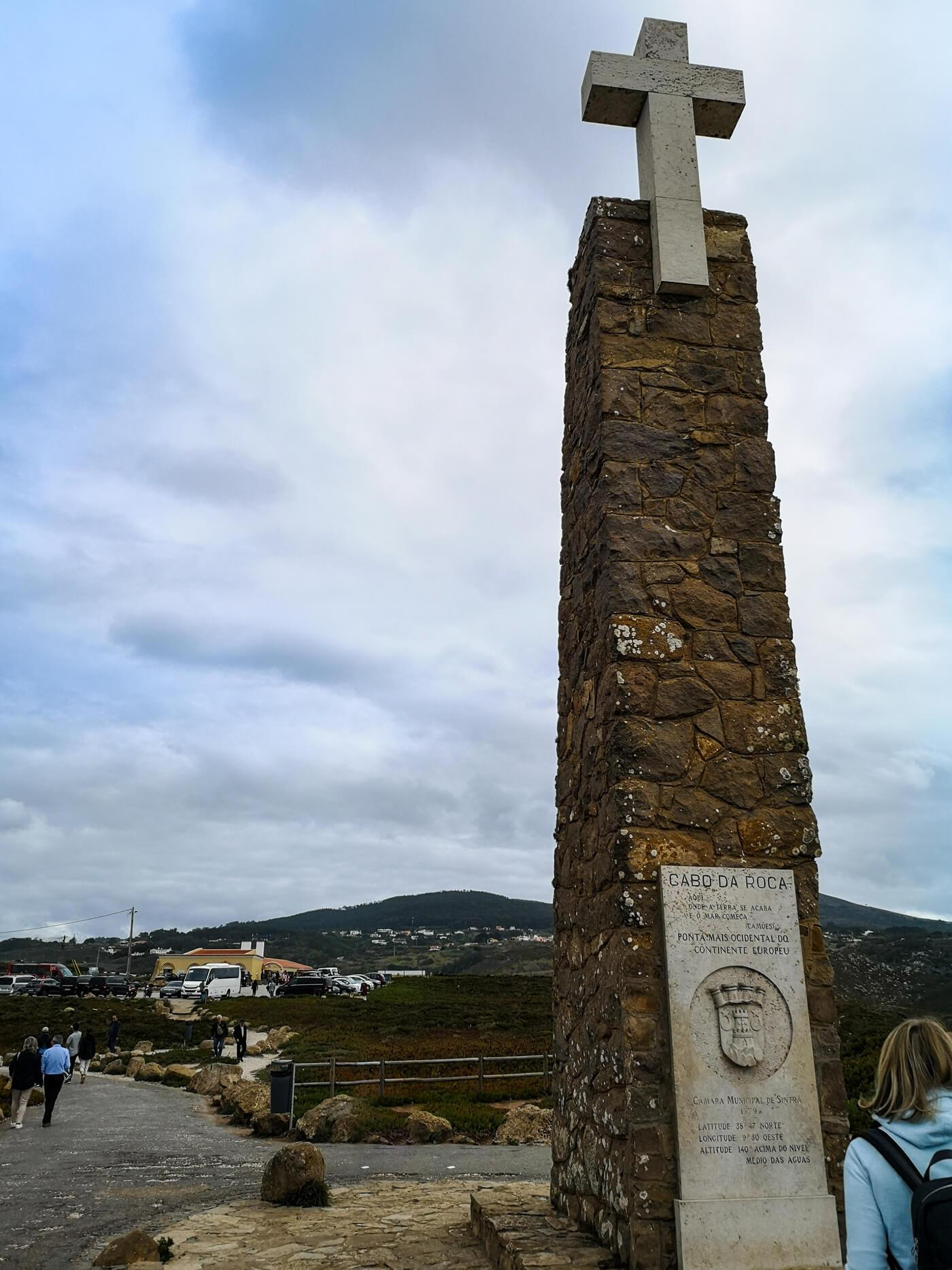A close up shot of the Cabo Da Roca monument.
