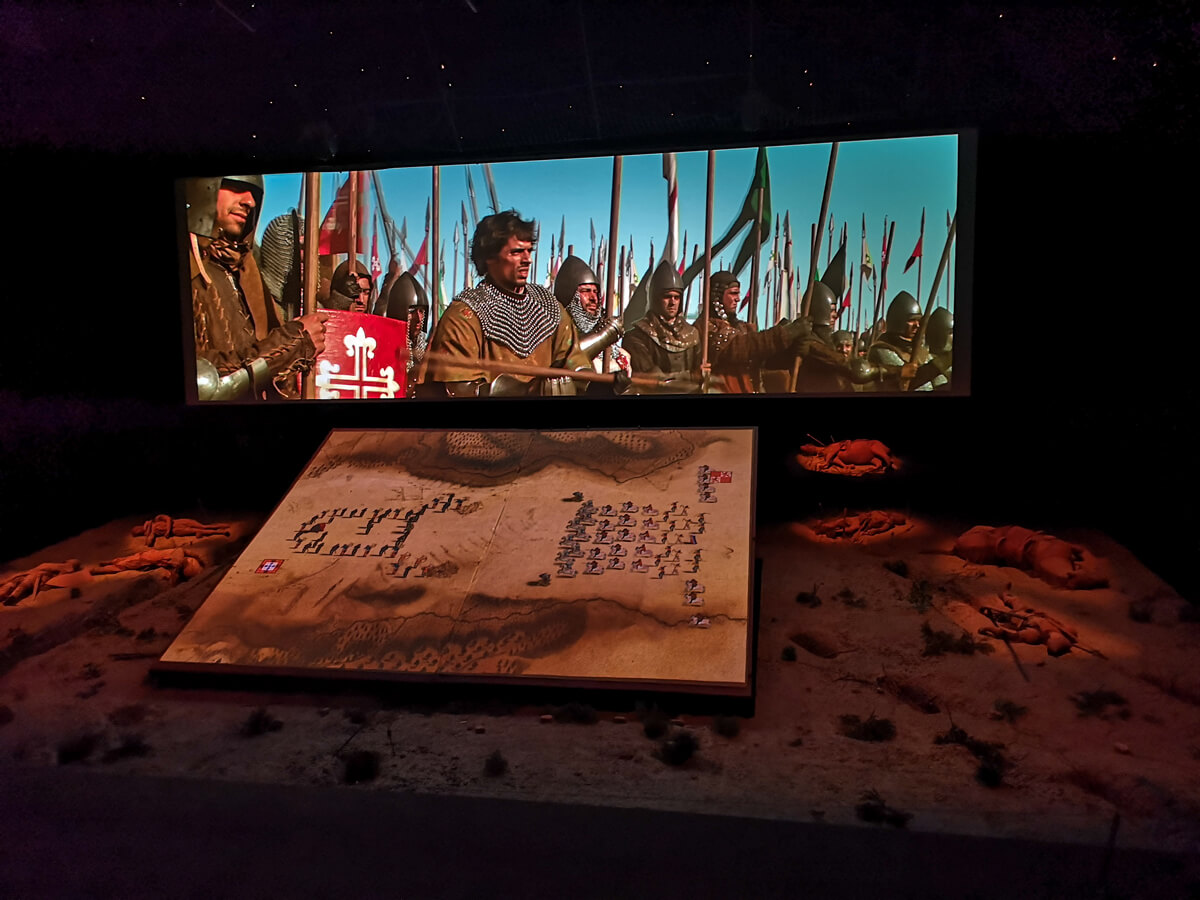 A film showing a reconstruction of the battle between the Portuguese and Castilians in 1385