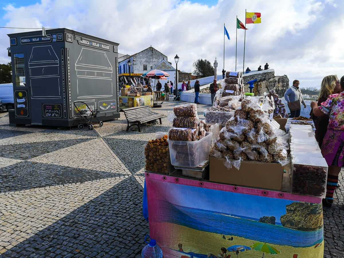 Food stalls in the fishing village of Nazaré
