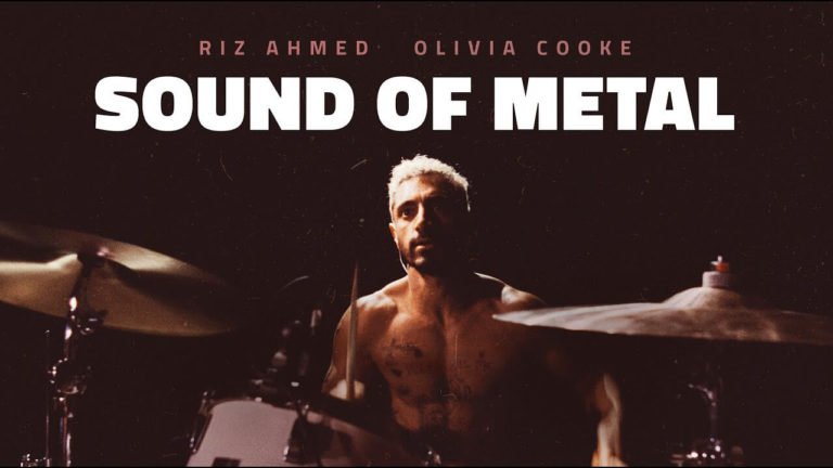 Sound of Metal movie poster showing Riz Ahmed playing drums.