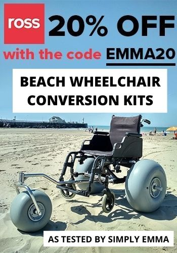 """An image of a beach wheelchair sitting on the sand with text """"20% off with the code EMMA20. Beach wheelchair conversion kits as tested by Simply Emma"""""""