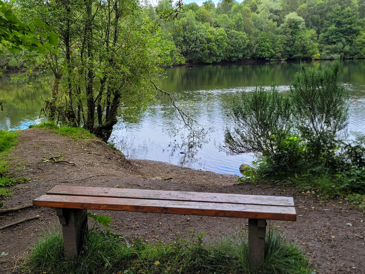 A wooden bench positioned overlooking Doune Ponds.