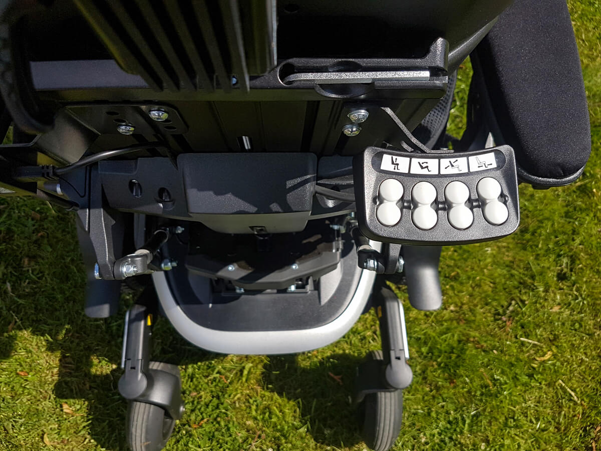 The Intelligent Control System (ICS) is the control buttons positioned at the back of the wheelchair.