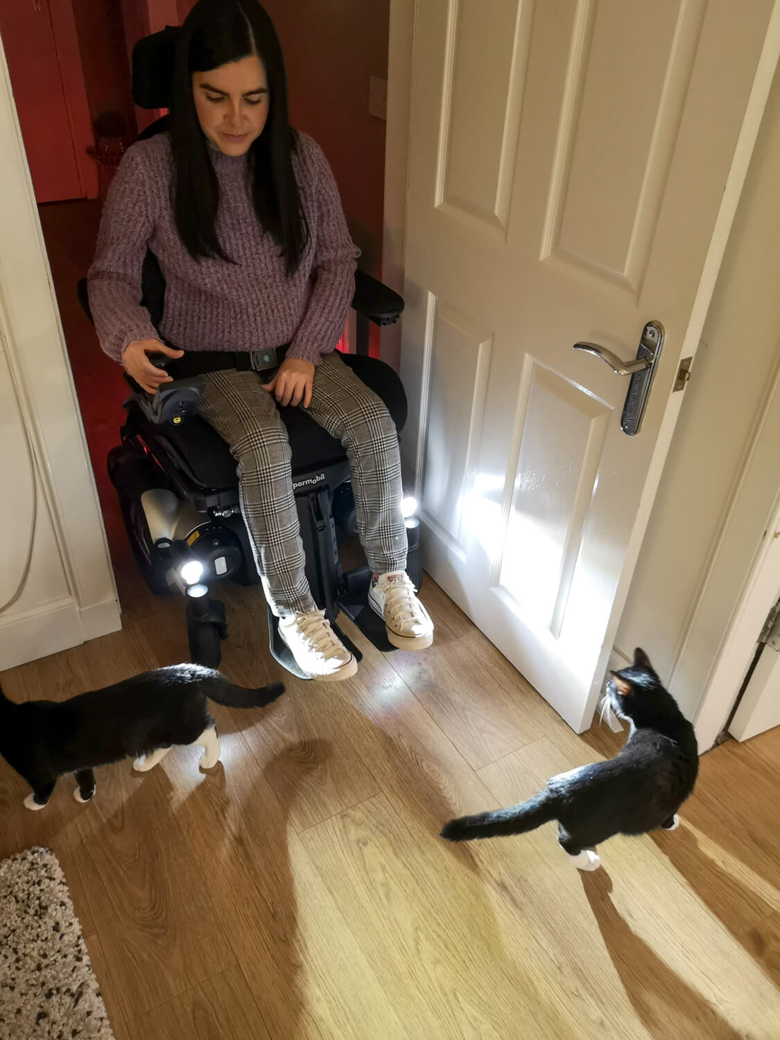 Emma driving her Permobil powerchair in her home with the LED lights on. Her two black and white cats are walking in front of her.