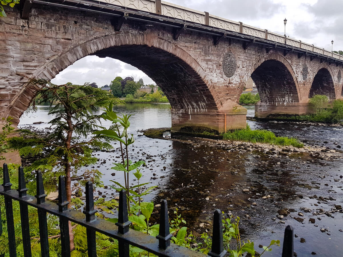 A close up shot of the Perth Bridge in the city centre of Perth in Scotland.