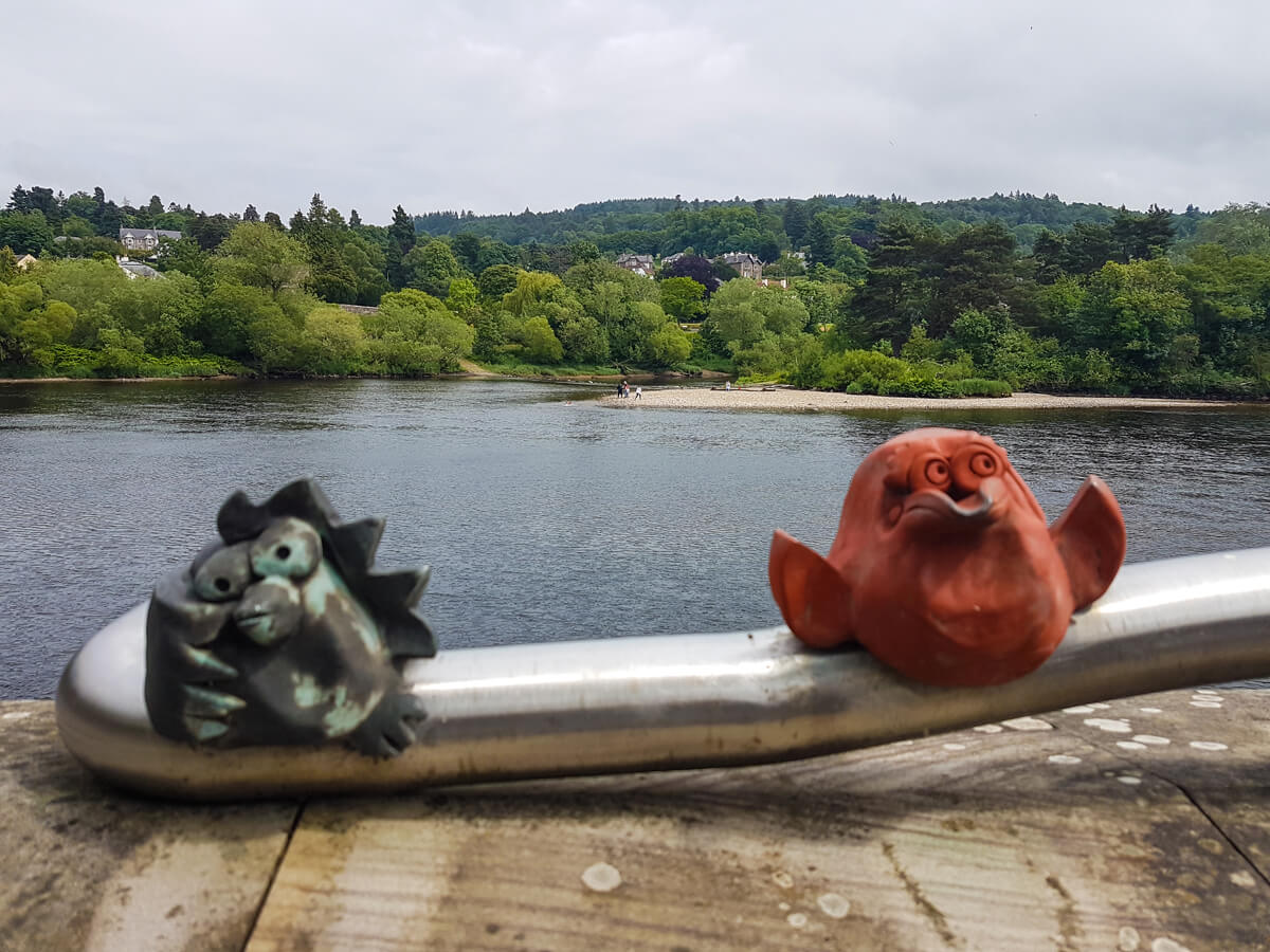 A close up of 'Soutar's Menagerie' animal sculptures by Rhonda Bayley as part of the River Tay Public Art Trail.