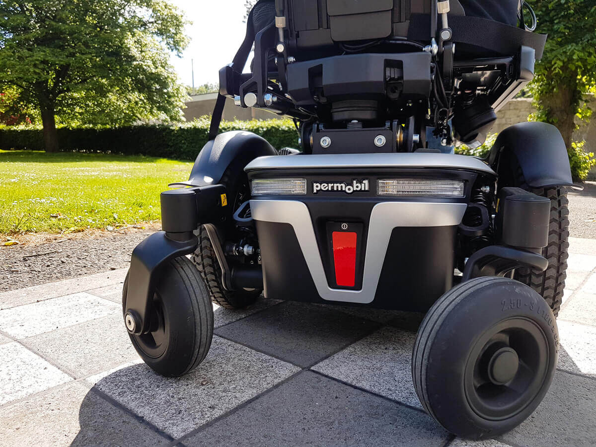 A close up shot of the back of the Permobil M3 powerchair.